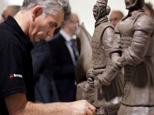 Ian Martinson carving a Terracotta warrior at a Heritage Open Day event.