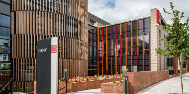 Cardiff university brain research imaging centre built in Staffordshire Smooth Crimson brick