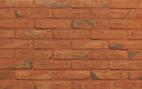 Aquaral Pepper Rood facing bricks in a running bond with mortar joint