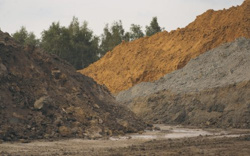 Clay pit at quarry.